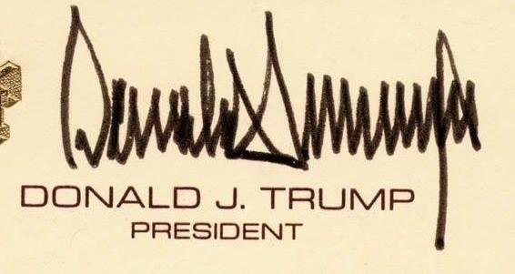 חתימתו של דונלד טראמפ